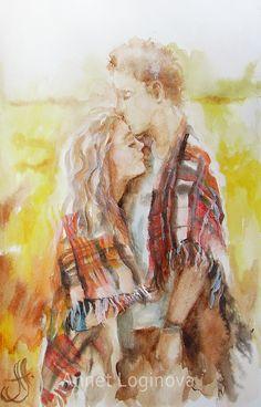 Купить Акварель Теплые мгновения - подарок влюбленным, он и она, влюбленные…