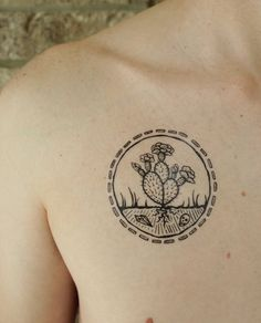 Blooming cactus TEMPORARY TATTOO! :) With raw crystals and skulls in the earth. By NatureTats