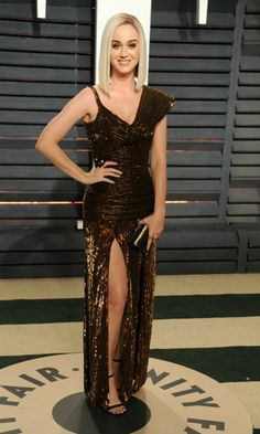 Katy Perry shined in a bronze number by Jean Paul Gaultier during the 2017 Vanity Fair Oscars after party.