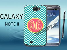 Samsung Galaxy Note 2 Case  Teal Chevron and by CrazianDesigns