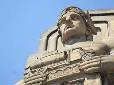Guardian of Transportation (Lorain-Carnegie Bridge) Downtown Cleveland, Statue Of Liberty, Buddha, Transportation, Bridge, Lion Sculpture, Travel, Art, Statue Of Liberty Facts