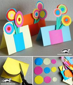 Put a colorful paper bouquet on a card. 17 Easy Emergency Mother's Day Crafts For Kids Kids Crafts, Mothers Day Crafts For Kids, Mothers Day Cards, Preschool Crafts, Projects For Kids, Craft Projects, Craft Ideas, Happy Mothers, Spring Crafts