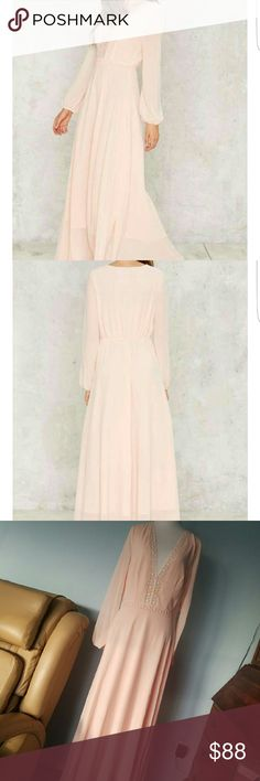 Nasty Gal Diana Maxi Dress The gorgeous maxi dress is made in light pink chiffon and features a plunging neckline, full maxi silhouette, elastic at back waist, crochet lace detailing, and bishop sleeves. Fully lined! 💖  - No Trades! 🚫 - Offers Considered! 🤗 - HaPpY PoShInG 💋 xo. Lucy Paris Dresses Maxi