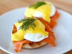 Salmon Benedict.  Absolutely delicious and super healthy... I go very light on the Hollandaise, and add a dash of garlic, lemon pepper and Texas Pete.  It it so yummo!