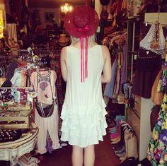 Logan looks so cute in her new dress! The back side of the hat looked so cute, so we took this rear shot! #vintage #cutecustomer #silk #greatgatsby #flapper #echopark #eaglerock #dtla #losfeliz #losangeles #atwater #highlandpark #silverlake #lemonfrogshop