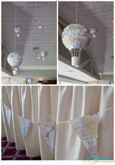"Hot Air Balloons and Maps for a ""Up, Up, and Away"" baby shower."