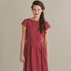 Red spotty dress, handmade in Manchester by Plum and Pigeon Etsy, £50.00