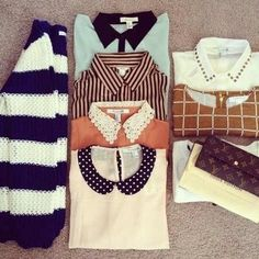 Im liking lacey and statement collared tops. middle row, bottom 2 for example