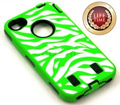 Amazon.com: myLife (TM) Lime Green + Black + White Zebra Stripes (Built In Screen Protector) Hybrid Toughsuit Case for iPhone 4/4S (4G) 4th ...