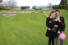 SHE SAID YES! Feng Ke proposed to Yi Wei, a Massey PhD finance student, at Massey's Manawatū campus today. Mr Ke, a Massey economics and finance graduate, spent hours setting the scene spelling out the proposal with balloons, and had music, flowers and the ring ready. Ms Wei, who turned 25 today, says she was surprised but excited. The couple, both from China, moved to New Zealand in 2008 and have been together six years. #truelove