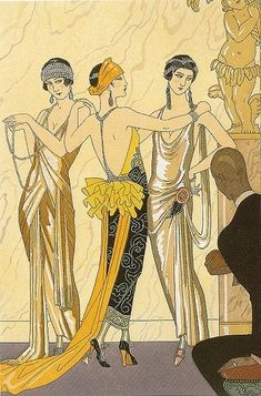 1920s, 1923, art, art deco, barbier, fashion, fashion illustration, fashion plate, flappers, george barbier, georges barbier, gold, illustration, le jugement de paris, miss pettigrew, orange, pochoir, ruffles, yellow