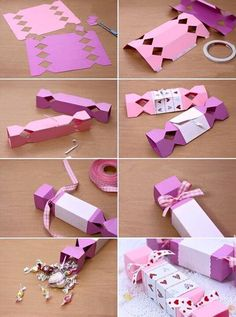 DIY do it yourself gifts, give aways box, flower, cute, candy wrapper, purple, pink, ribbon © credits to the owner, image not mine
