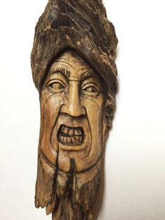 Wood Spirit Wood Carving Hand Carved Wood Art by JoshCarteArt