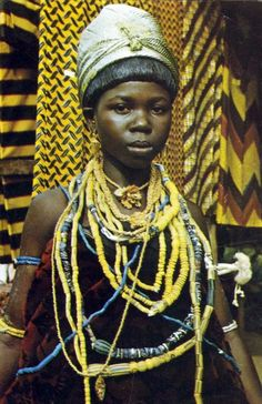 Africa | Girl in traditional attire. Krobo, Ghana || Scanned postcard; publisher CBC. Post stamped 1975.