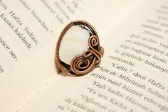 White mother of pearl ring copper wire wrapped by BeyhanAkman, $20.00