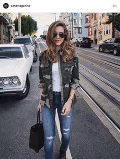 camoo shirt, skinny jeans. found on instagram @ootdmagazine