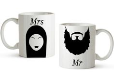 $24 Mr and Mrs Islamic Mugs  Wedding gift idea by MashallahArts