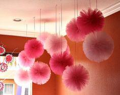 Pompones de tul, set de 12. para bodas, decoraciones para fiestas y centros de mesa