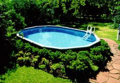 Oval Above Ground Pool with Landscaping | Swim Above Ground
