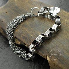 Sterling silver and garnet bracelet - chain bracelet, sterling silver bracelet, handmade bracelet - Jewelry, Oxidized Sterling Silver, Handmade Sterling Silver, Sterling Silver Chains, Bracelet Love, Garnet Bracelet, Bracelet Charms, Amber Bracelet, Handmade Bracelets, Jewelry Bracelets