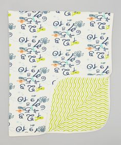 Take a look at this Blue & Apple Green Numbers Stroller Blanket by tiptoe & whisper on #zulily today!