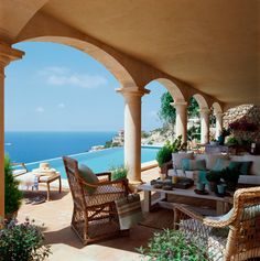 A very cool veranda with splendid views of the blue sea and the pool. This is absolutely stunning. Outdoor Rooms, Outdoor Living, Porch And Terrace, House By The Sea, Spanish Style Homes, Belle Villa, Outside Living, Mediterranean Homes, Coastal Homes
