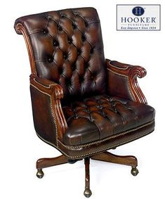 leather desk chairs garden swing chair 27 best vintage office images hooker brown antique executive high back