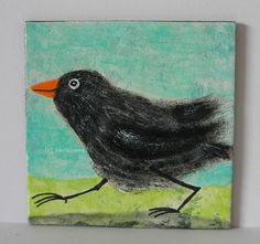 AMSELJOGGING von Herbivore11 Unikat Minibild Amsel Vogel Jogging Comic Bild süß