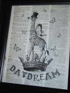 Upcycled Art Daydream with this Giraffe by HamiltonHousePrints, $8.00