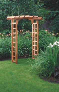 Astoria Arbor. The unique, bow-shaped top creates a beautifully shaped arbor that complements any setting, from natural to formal. Lattice side panels are ready to support flowering vines and climbing roses. See this arbor and more at Gardeners.com