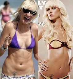 Jezebel.com's PhotoShop Of Horrors: model Kimberly Stewart without Photoshop, and with airbrushing for a lingerie ad.