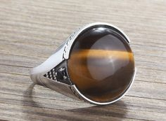 925 K Sterling Silver Mens Ring with Brown Natural Tiger's Eye and Onyx Gemstone #istanbuljewelry #Statement
