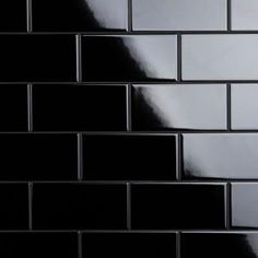 Featuring a simplistic nature, our Crown Heights Glossy Black 3 in. x 6 in. Ceramic Wall Tile has the ability to elevate spaces through its classic, clean design. With a smooth, glossy surface, this black Black Subway Tiles, Ceramic Subway Tile, Black Tiles, Black Grout, Techno, Crown Heights, Feature Tiles, Tile Projects, Bath