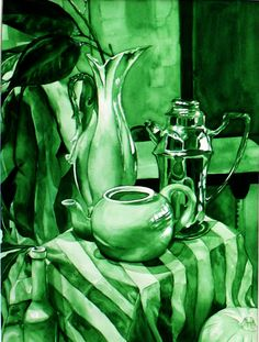 Brittany Cartie Stripes and Ceramic Watercolor x This artist use many shades of green to create this monochromatic painting. She used the lightest of greens to paint the table cloth and tea pots. And darker shade of green for the plants and walls. Monochromatic Paintings, Monochrome Painting, Monochromatic Color Scheme, Value Painting, Painting Lessons, Art Lessons, Value In Art, Ap Studio Art, 3d Video