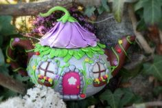 Fairy House Teapot HappyCakeToppers Bespoke polymer clay creations etsy shop