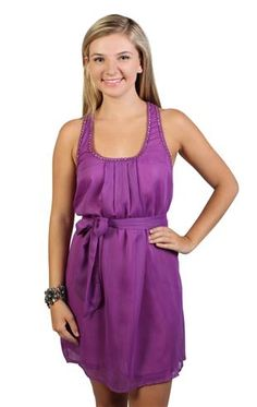 solid racerback a line day dress