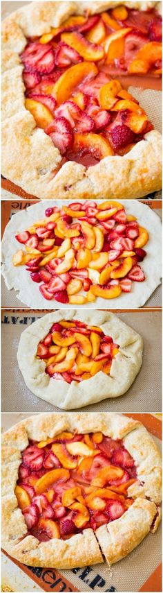 Strawberry Peach Galette is like a free-form pie! It's so simple to make and there is NEVER any leftover!Rustic Strawberry Peach Galette is like a free-form pie! It's so simple to make and there is NEVER any leftover! Strawberry Recipes, Fruit Recipes, Sweet Recipes, Dessert Recipes, Cooking Recipes, Peach Galette Recipe, Crostata Recipe, Peach Pie Recipes, Gourmet