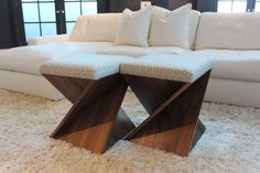 Two small ottomans make for a great coffee table  #trends #hpmkt