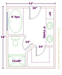 Modify this one 8x11 bathroom floor plan with double bowl for Bathroom and closet combo floor plans