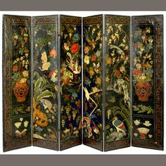 A Chinese export painted leather six fold floor screen