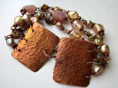 Fated to Love - rose freshwater pearls, pink tourmaline nuggets, lampwork glass, & hammered copper wrap bracelet by LoveRoot