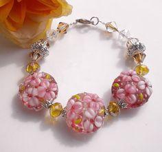 Lampwork Beaded Bracelet Golden Crystals by MagdaleneJewels