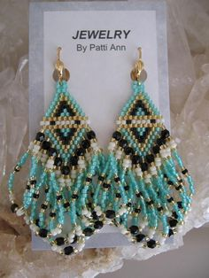 Seed Bead Bead Woven Earrings by pattimacs on Etsy