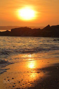 Bold Sunset At Jurassic Coast - Sunset at West Bay, Dorset, United Kingdom