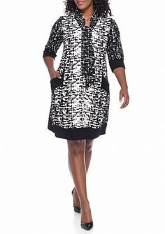 251fd0cbac598 Chris McLaughlin Plus Size Printed Textured Knit Shift Dress with Tie Neck
