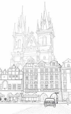 Journal on Product Design and Development: Cathedral Behind Cafe In Old Town Square, Prague Town Drawing, House Drawing, Scenic Photography, Night Photography, Landscape Photography, Square Drawing, Prague Old Town, Architecture Drawing Sketchbooks, Mandala