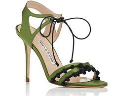 Manolo Blahnik Esparra Satin Ankle-Tie Sandals
