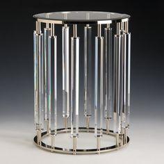 Modern Crystal and Brass Side Table – English Georgian America