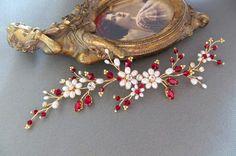 Rojo de novia casco rojo novia vid rojo de la boda casco oro