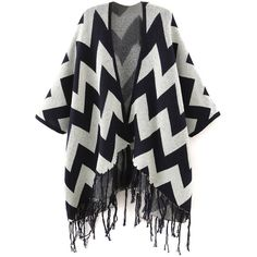 Navy Chevron Pattern Batwing Sleeve Tassel Open Front Cardigan ($36) ❤ liked on Polyvore featuring tops, cardigans, bat sleeve cardigan, navy open cardigan, navy cardigan, navy top and chevron print tops